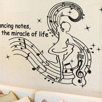 Chic Quality New Style Music Note and Dance Girl Pattern Removeable Wall Stickers - BLACK