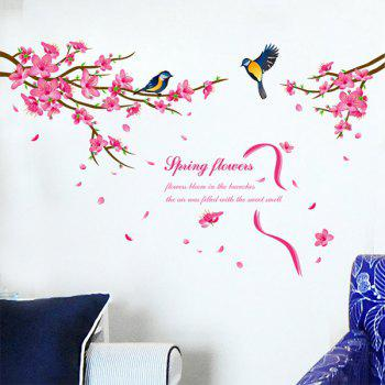 Stylish Spring Flowers and Siskin Pattern Removeable Wall Stickers - COLORMIX