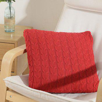 Buy Chic Weave Square Shape Knitted Pillowcase Home Decoration Office Nap (Without Pillow Inner) RED