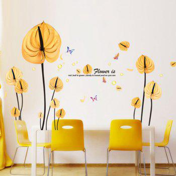 Hot Sale Yellow Leaves Pattern Removeable Wall Stickers