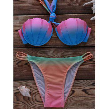 Fashionable Multicolor Backless High Stretchy Women's Bikini Set