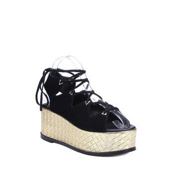 Trendy Platform and Lace-Up Design Sandals For Women