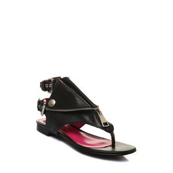 Punk Buckles and Black Design Sandals For Women