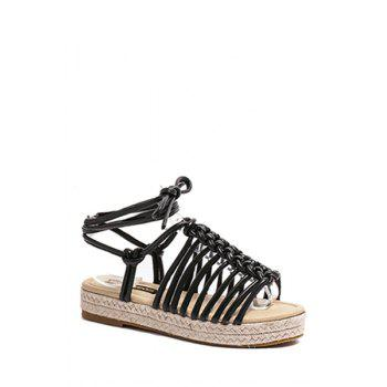 Casual Weaving and Lace-Up Design Sandals For Women