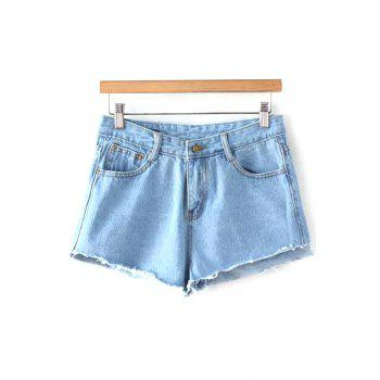 Stylish Mid-Waist Fitting Light Blue Denim Women's Shorts