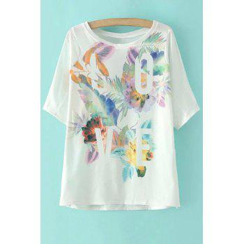 Stylish Round Neck Half Sleeve Flower Print Women's T-Shirt