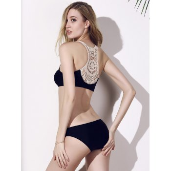 U-Neck Hollow Out Bikini Set - BLACK BLACK