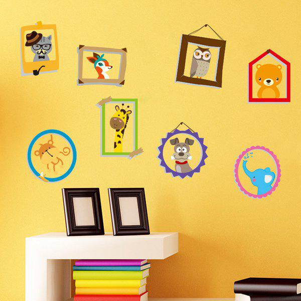 Sweet Cartoon Animal Photo Album Pattern Removeable Wall StickersHome<br><br><br>Color: COLORMIX