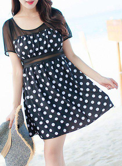 Chic Polka Dot Print One-Piece Dress Swimwear For Women - BLACK 3XL