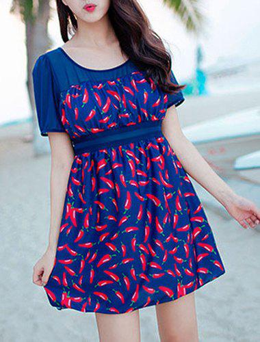 Chic Chili Print One-Piece Dress Swimwear For Women - DEEP BLUE 2XL