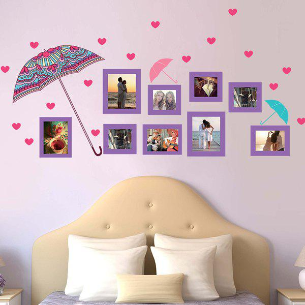 Hot Sale Flower Umbrella and Photo Frame Pattern Removeable Wall Stickers