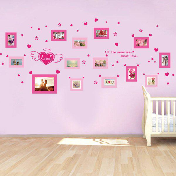 Stylish Love Heart Photo Wall Pattern Removeable Wall Stickers - PINK