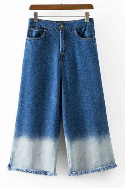Trendy High-Waisted Fringed Pocket Design Women's Wide Leg Pants - DEEP BLUE M