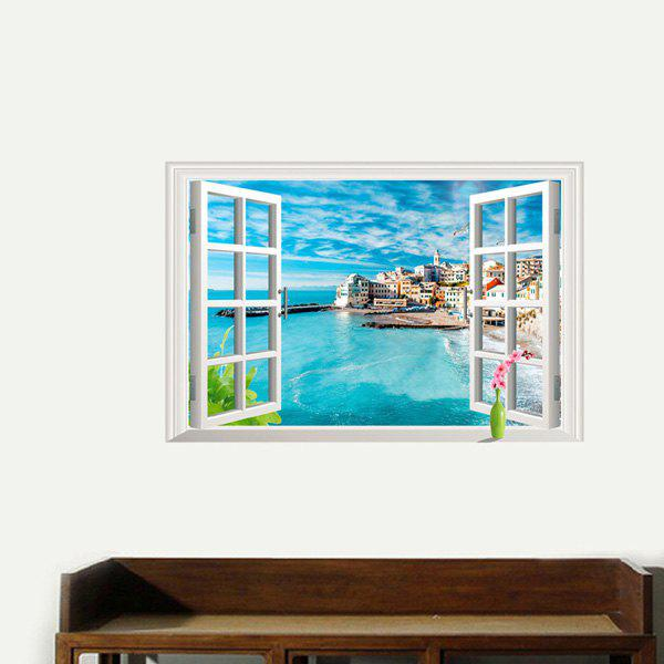 Chic Quality 3D Window Italy Five Fishing Village Pattern Removeable Wall Stickers - COLORMIX