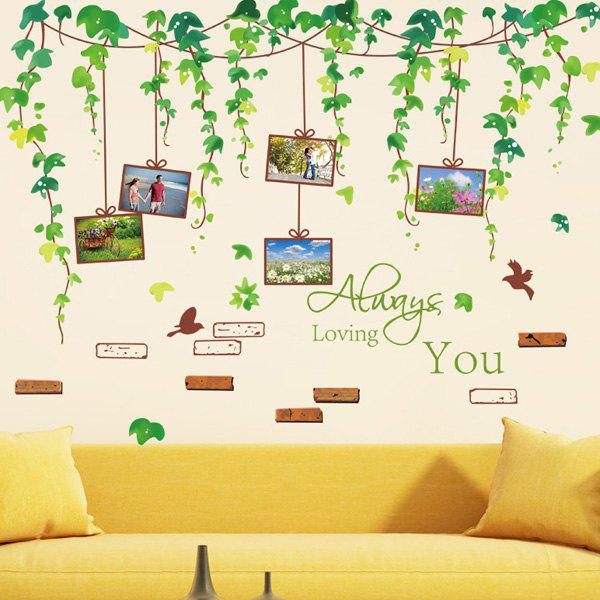 High Quality Green Vines and Photo Wall Pattern Removeable Wall Stickers - COLORMIX