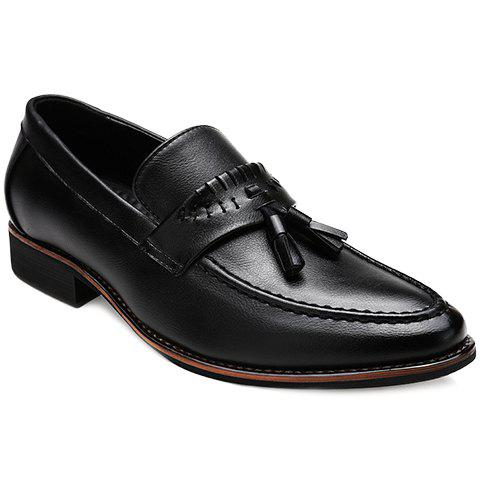 Fashionable Solid Colour and Tassels Design Mens Casual ShoesShoes<br><br><br>Size: 41<br>Color: BLACK