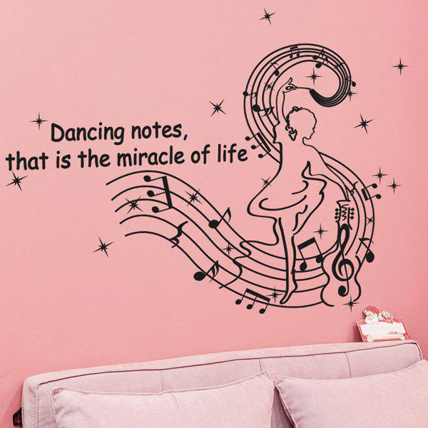 Chic Quality New Style Music Note and Dance Girl Pattern Removeable Wall Stickers
