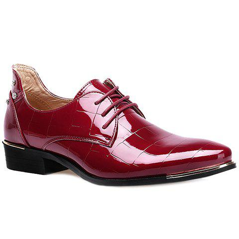 Trendy Metal and Patent Leather Design Men's Formal Shoes - WINE RED 38