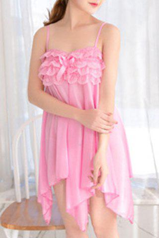 Alluring Women's Spaghetti Strap Lace Spliced Pure Color High Low Babydoll - LIGHT PINK ONE SIZE(FIT SIZE XS TO M)