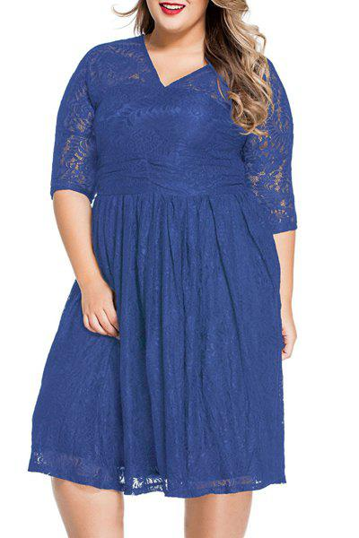 Sweet 3/4 Sleeves V-Neck Lace Flared Womens DressWomen<br><br><br>Size: 3XL<br>Color: BLUE