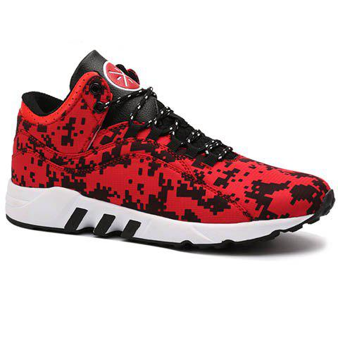 Casual Color Lace-Up and Color Matching Design Men's Athletic Shoes - RED 42