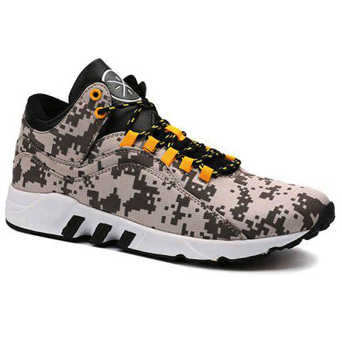 Casual Color Lace-Up and Color Matching Design Men's Athletic Shoes - GRAY 42