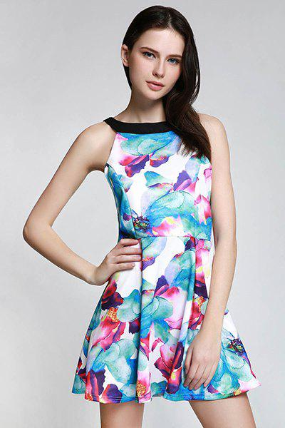 Stylish Floral Print Sleeveless Round Collar Women's Dress - BLUE M