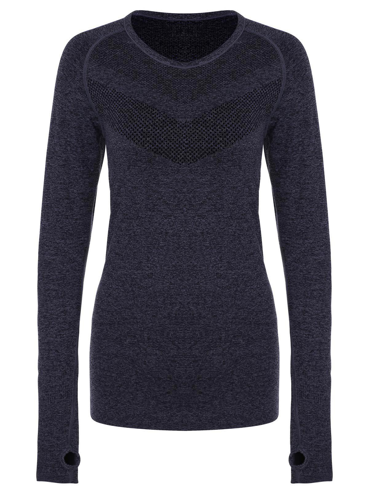 Stylish Women's Round Collar Slimming Long Sleeve Gym Top - BLACK GREY S