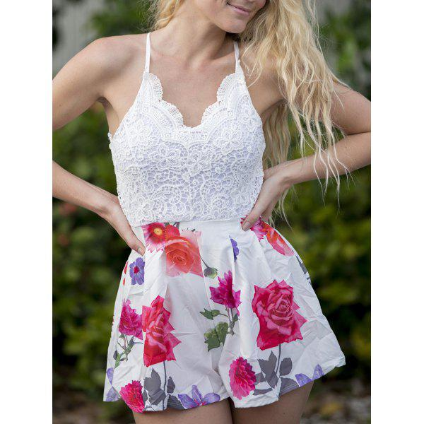Sexy V-Neck Sleeveless Floral Print Backless Women's Romper