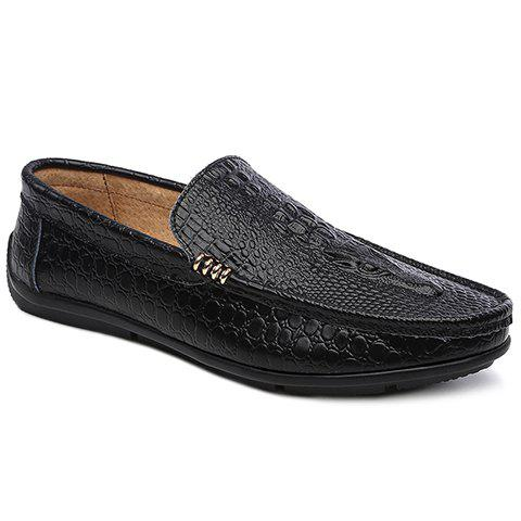 Stylish Metal and Embossing Design Men's Casual Shoes - BLACK 40