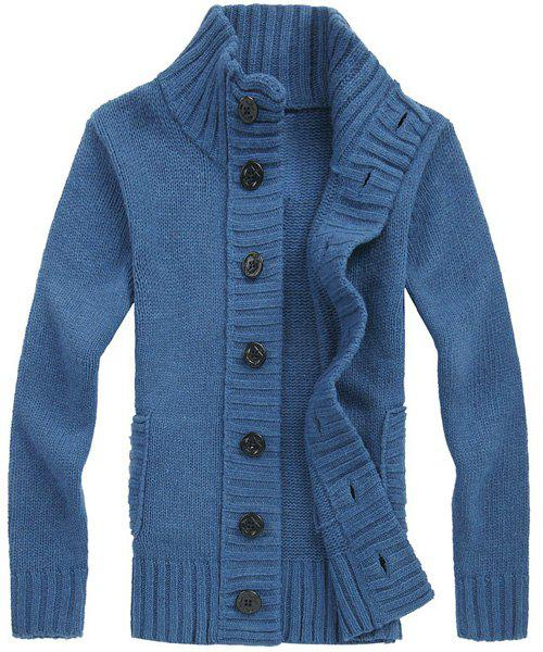 Casual Turn-down Collar Solid Color Men's Long Sleeves Cardigan - BLUE L