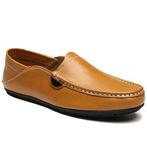 Leisure Stitching and PU Leather Design Men's Loafers - BROWN 40