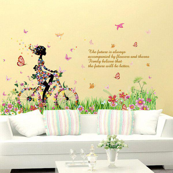 Stylish Colorful Flowers and Riding Girl Pattern Removeable Wall Stickers - COLORMIX