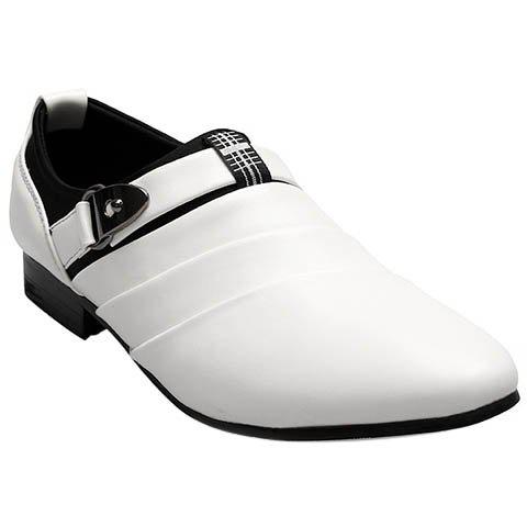 Trendy Metal and Pointed Toe Design Men's Formal Shoes - WHITE 40