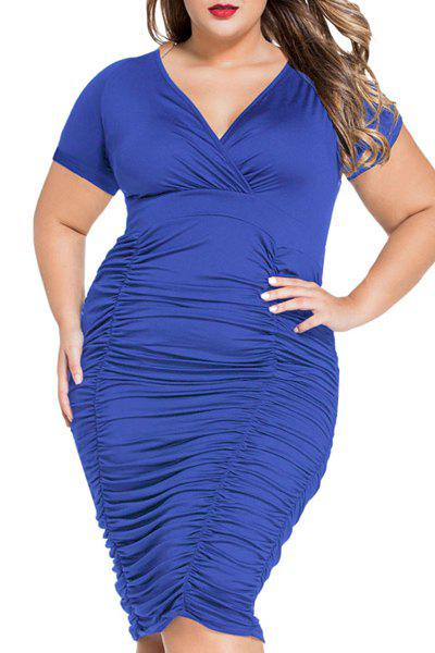 Elegant Short Sleeves V-Neck Ruffled Design Women's Dress - BLUE L