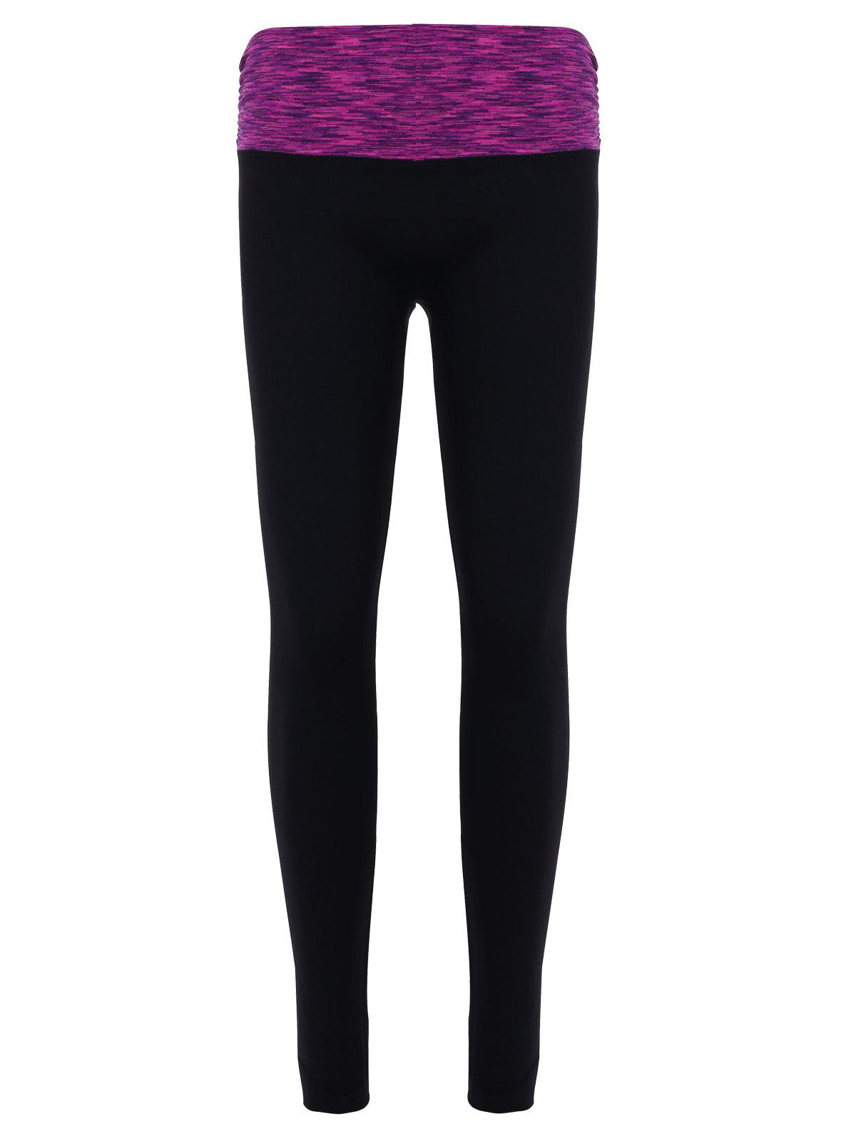 Stylish Women's High Waisted Stretchy Space Dyed Slimming Gym Leggings - VIOLET ROSE S