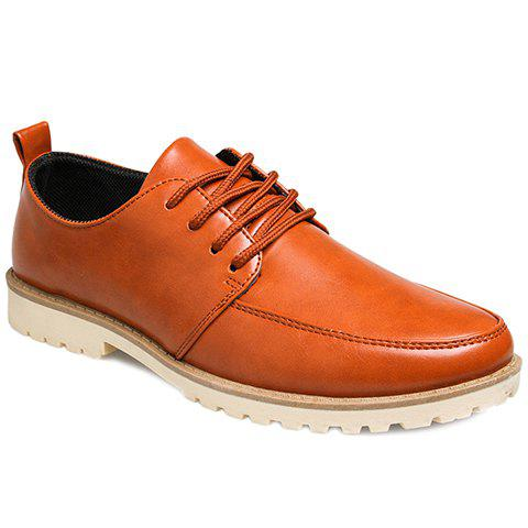 Trendy Lace-Up and Solid Color Design Men's Casual Shoes - BROWN 40