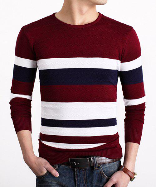 Color Block Stripes Spliced Round Neck Long Sleeves Men's Slim Fit Sweater - RED ONE SIZE(FIT SIZE XS TO M)