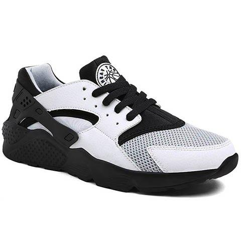 Leisure Mesh and Color Matching Design Men's Athletic Shoes - WHITE/BLACK 44
