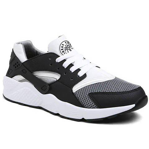Leisure Mesh and Color Matching Design Men's Athletic Shoes - BLACK/GREY 44