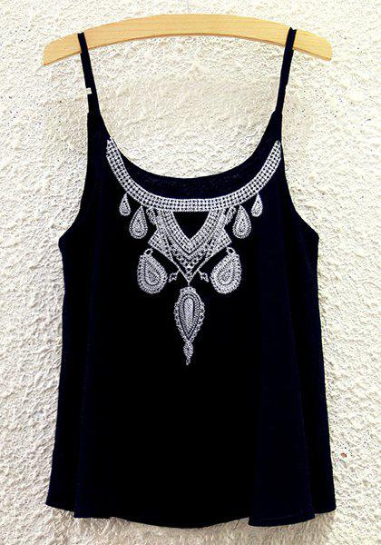 Ethnic Style Embroidery Chiffon Tank Top For Women - BLACK ONE SIZE(FIT SIZE XS TO M)