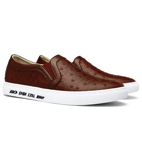 Fashionable Solid Color and Elastic Band Design Men's Casual Shoes - BROWN 40