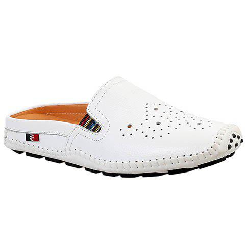 Casual Hollow Out and Stitching Design Men's Loafers - WHITE 40