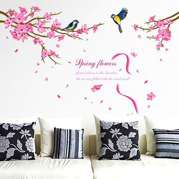 Stylish Spring Flowers and Siskin Pattern Removeable Wall Stickers