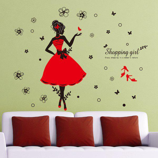 Chic Quality Flowers and Shopping Girl Pattern Removeable Wall Stickers - COLORMIX