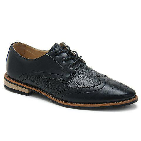 Fashionable Embossing and Engraving Design Men's Casual Shoes - BLACK 39
