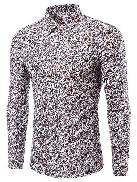 Casual Printing Turn Down Collar Shirt For Men - COLORMIX 2XL