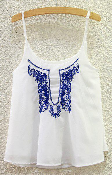 Chic Embroidery Chiffon Tank Top For Women - WHITE ONE SIZE(FIT SIZE XS TO M)