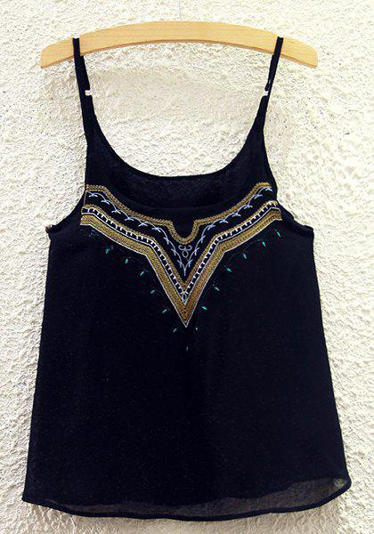 Brief Embroidery Spaghetti Strap Tank Top For Women - ONE SIZE(FIT SIZE XS TO M) BLACK