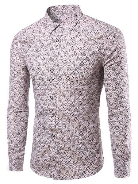 Casual Flower Shape Printing Turn Down Collar Shirt For Men - COLORMIX 3XL